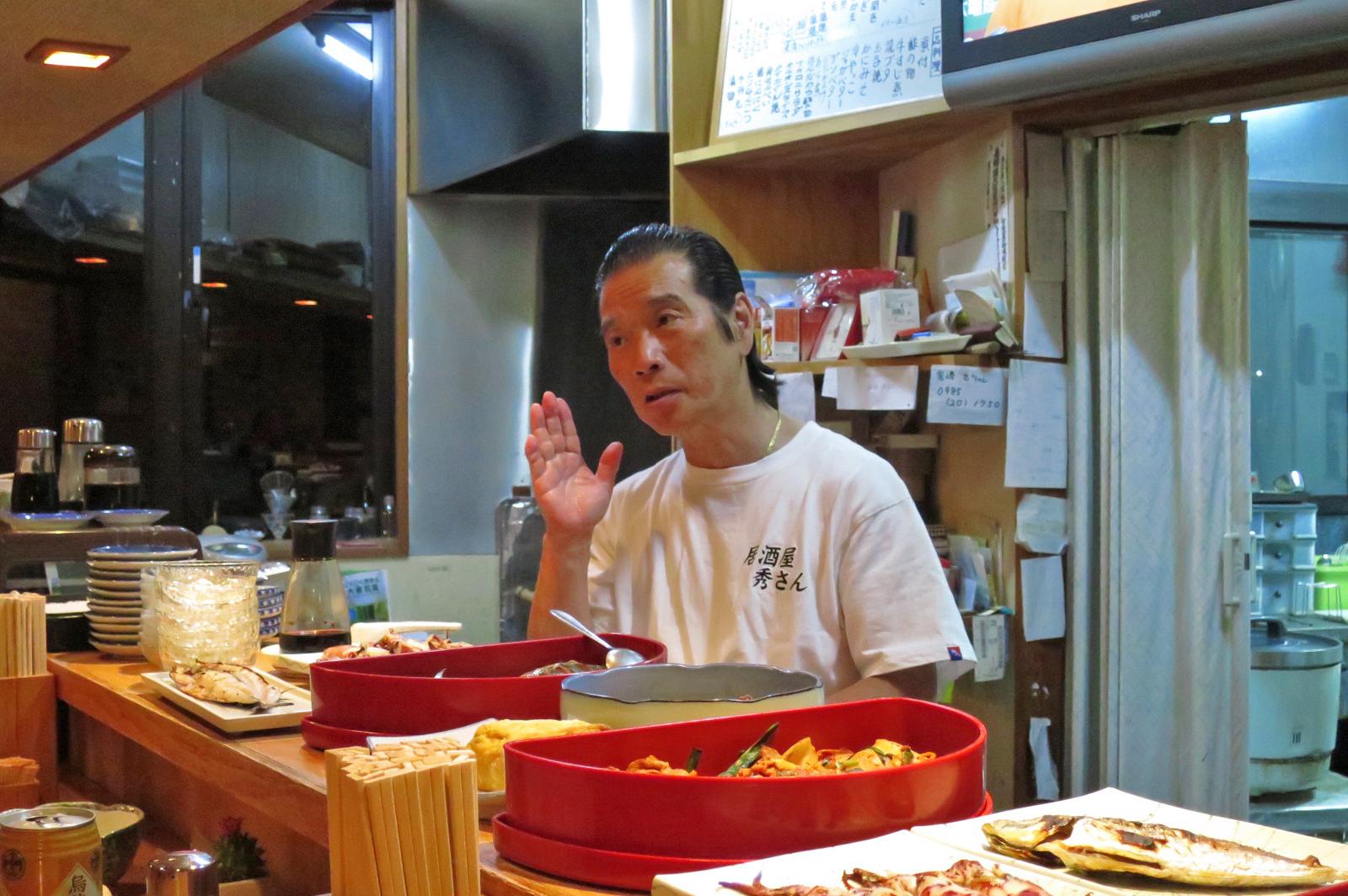 店長の秀さん。宇川温泉周辺は、ご飯処がありませんので、おすすめです!