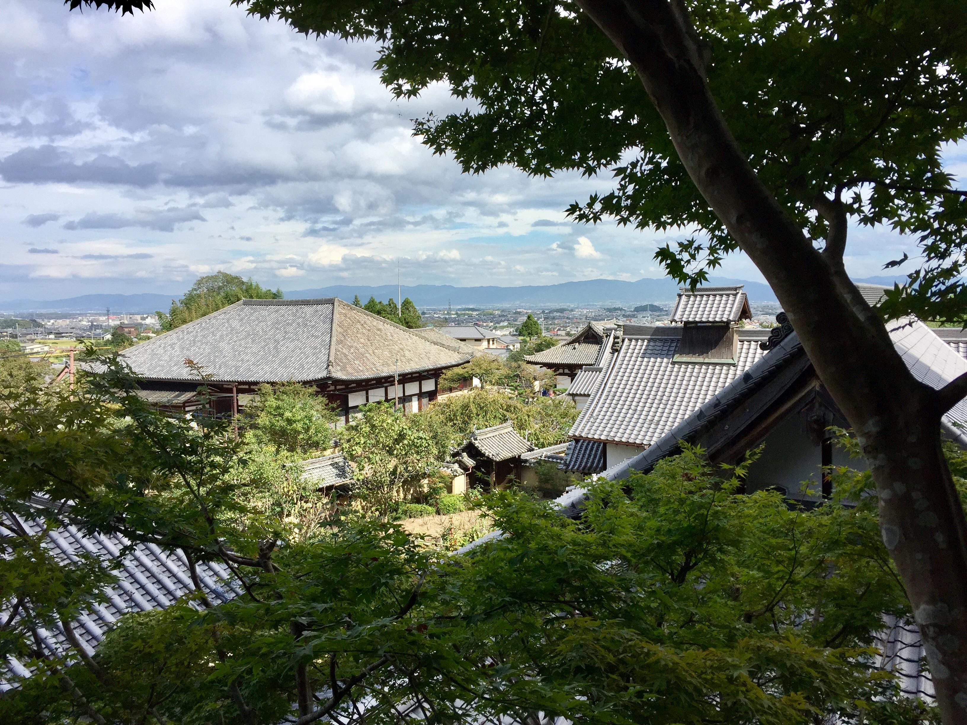西塔のある庭園からの眺めです。奈良市内が一望できます。(2016年秋撮影)
