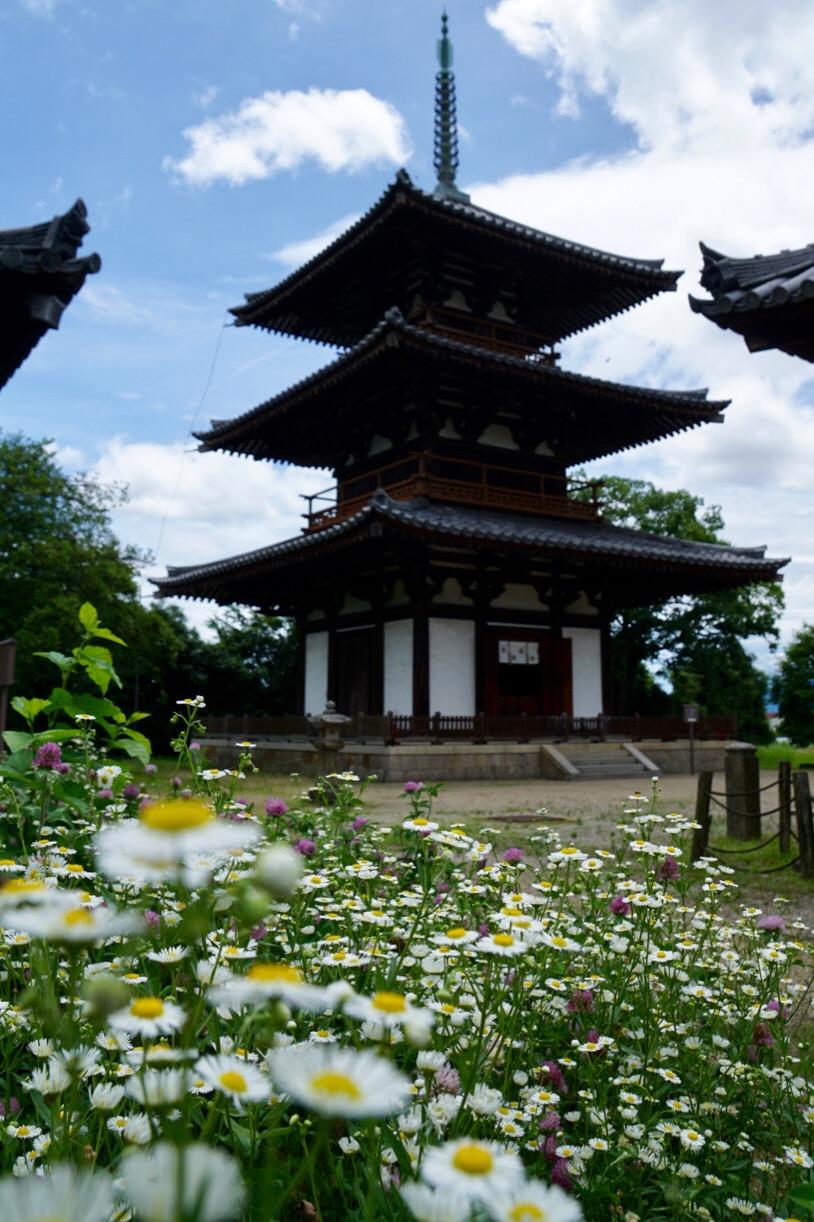法起寺。お花と三重塔が可愛いです。