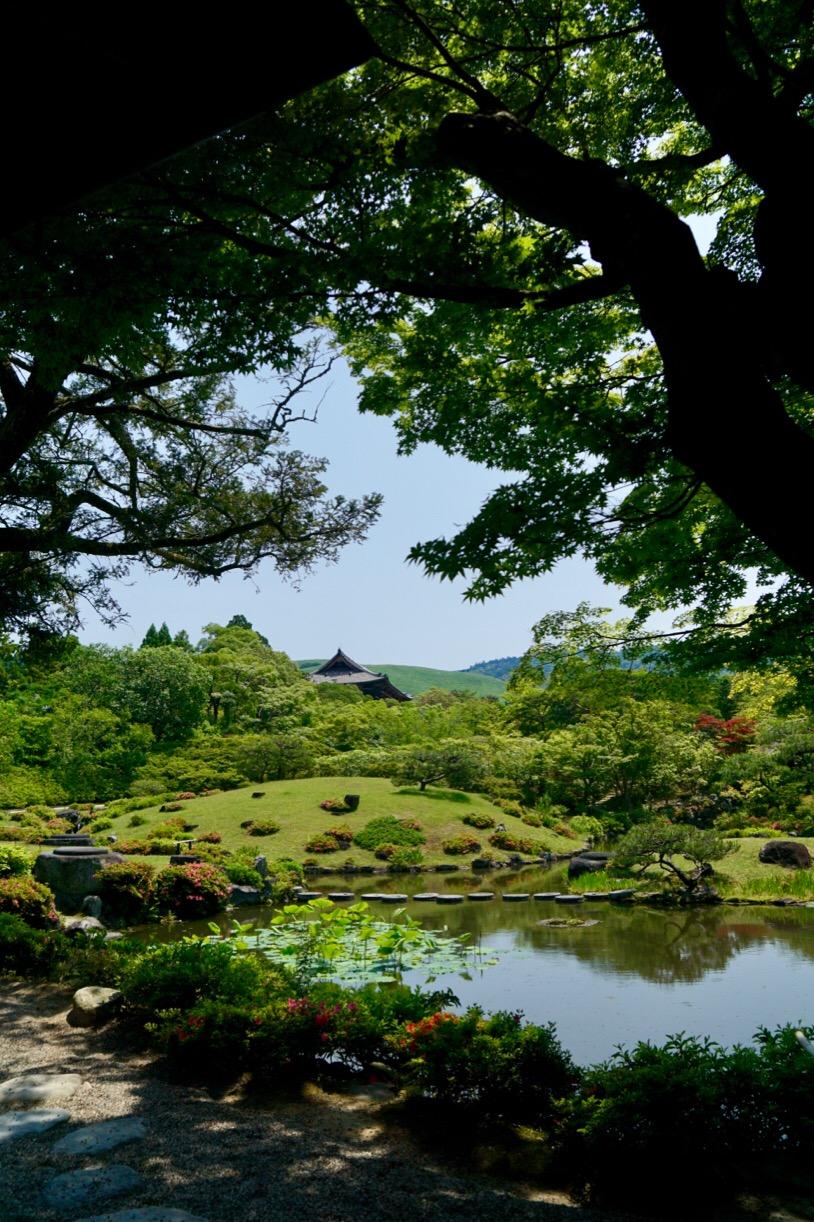 後園。若草山が見えてとても綺麗です。