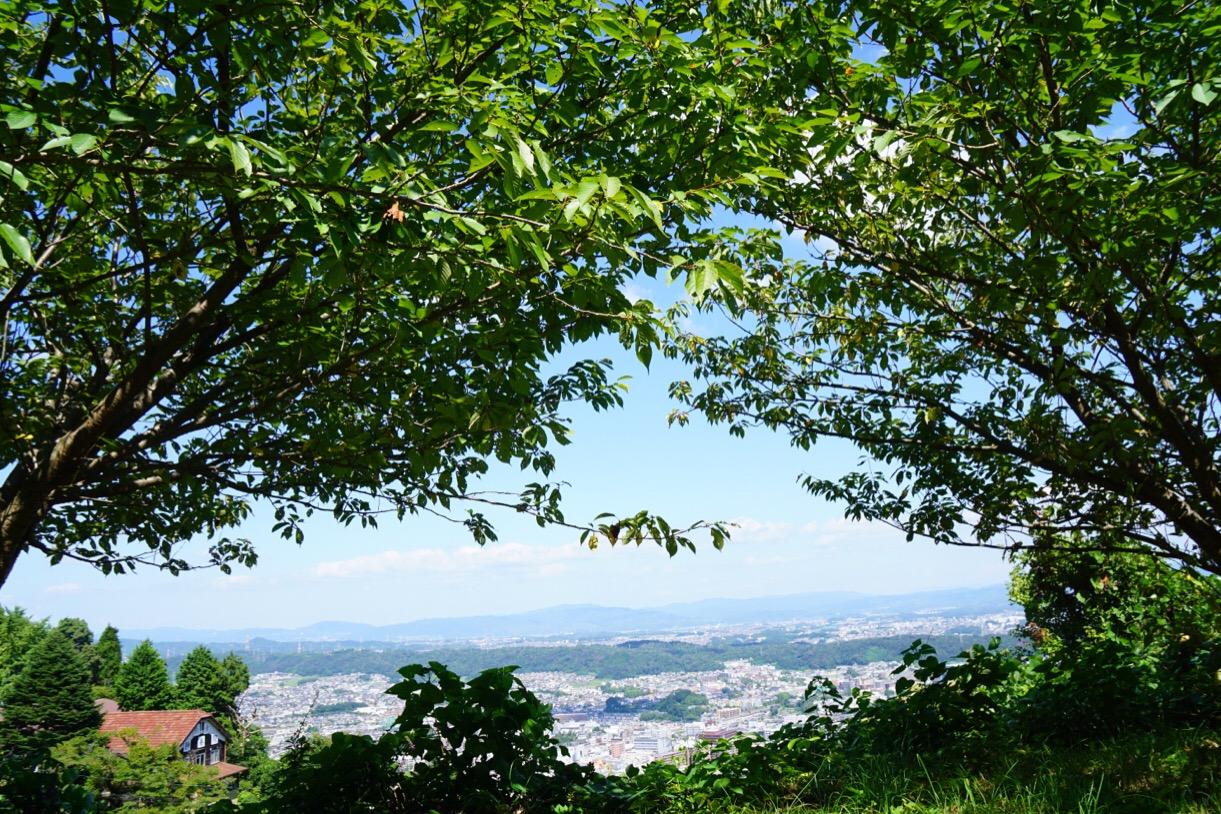 駐車場付近からの眺め。奈良が一望できます。