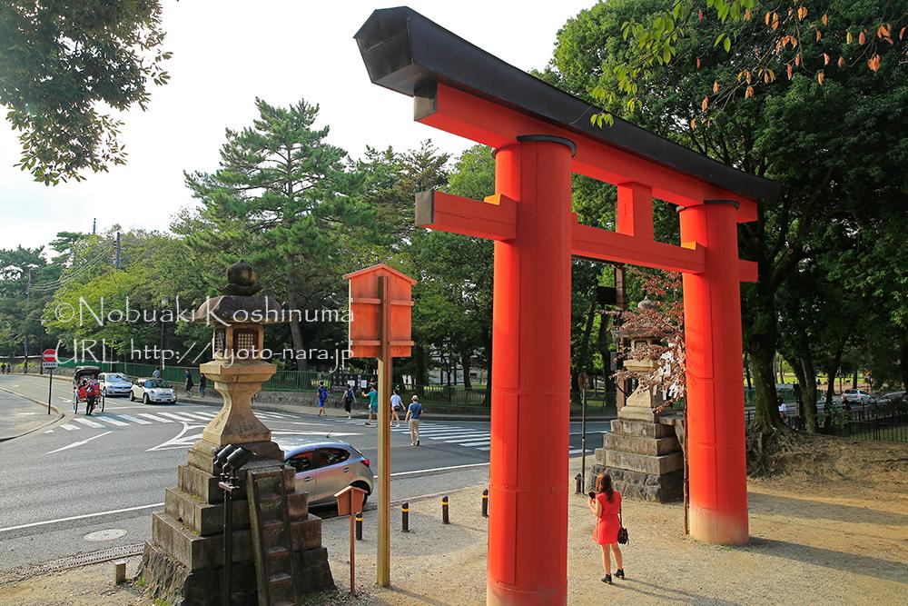一の鳥居前。赤い服を着た観光客が印象的。