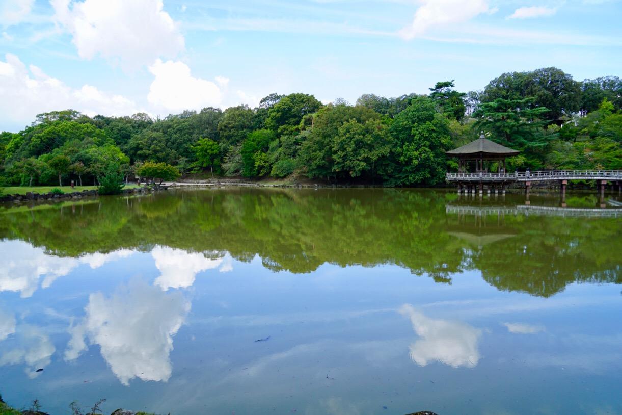 浮見堂へ。空がとても綺麗で湖面に写り込んでいました。