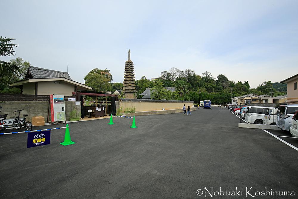 般若寺に大きな駐車場が出来てました。大型バスの出入りも出来るようになっていてビックリ!!