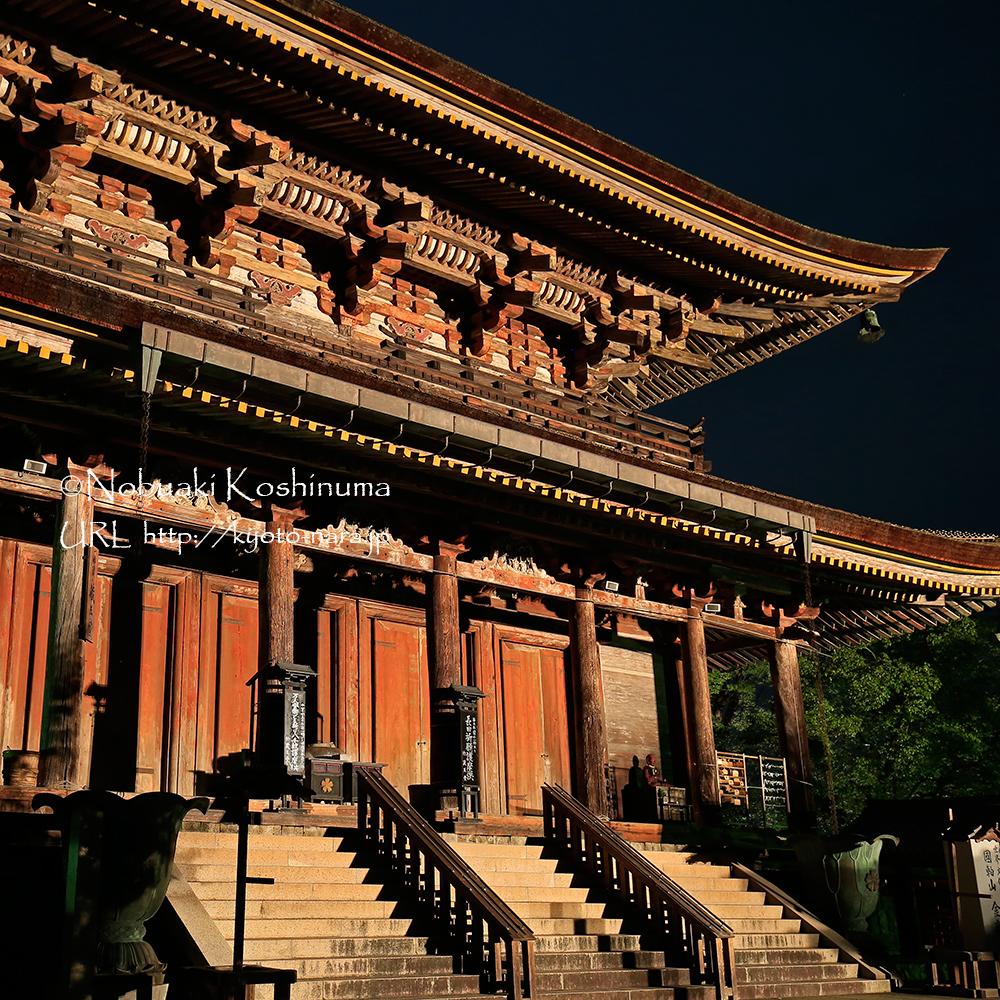 蔵王堂のライトアップ。静かな境内は玉砂利を歩く音が響き渡ります。