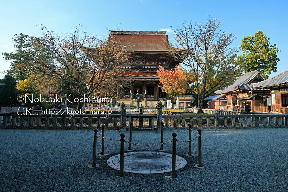 手前の丸い柵の場所は、護摩を焚く場所ですかね?中央は吉野城落城寸前に最後の酒宴をしたと言われる4本桜