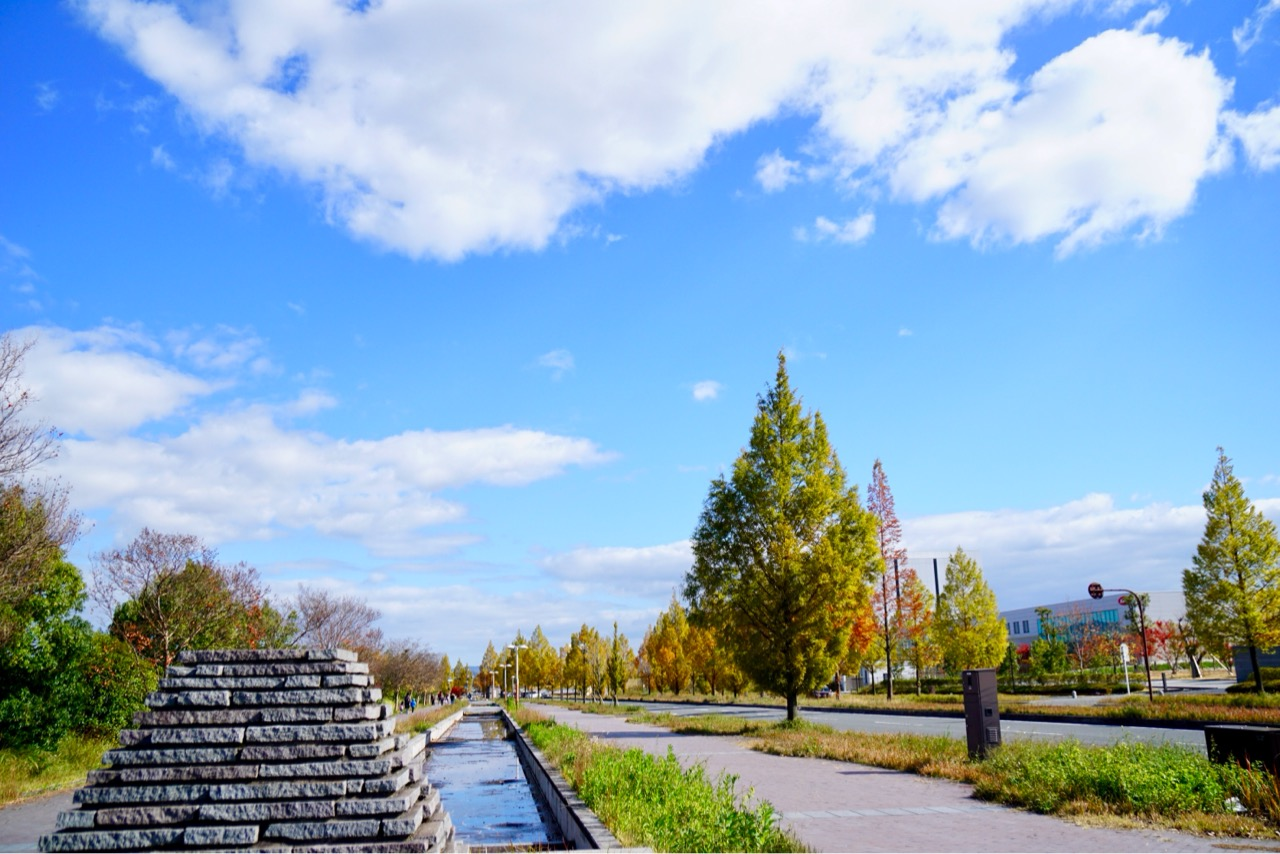 小さい川が流れていてオブジェなどもあって綺麗な散歩道です。