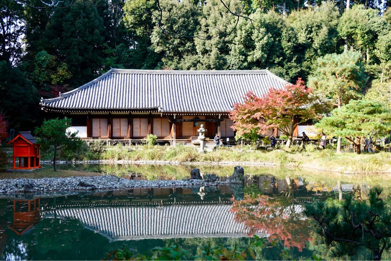 本堂 池に映して見ることで極楽浄土の世界を見るように設計されています。
