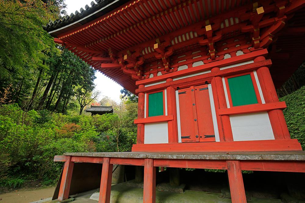 室町時代建立の三重塔(重文)。いま彩色鮮やかな内部壁画の特別開扉されています。
