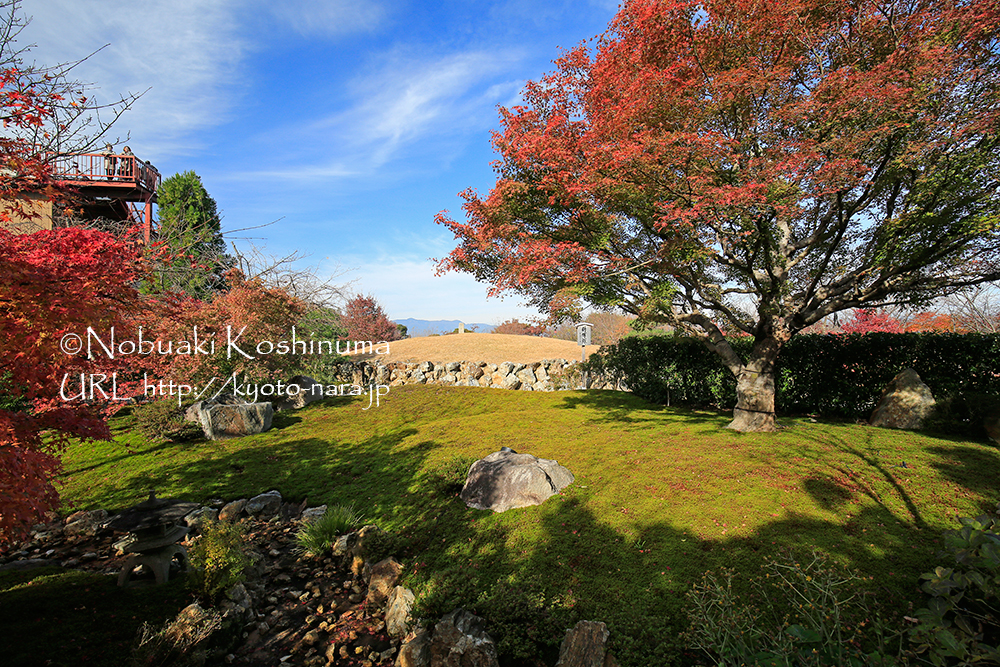 中央奥に見えるのが将軍塚。昔の偉人達が訪れ、日本の将来に思いを馳せたことが偲ばれる由緒ある場所。