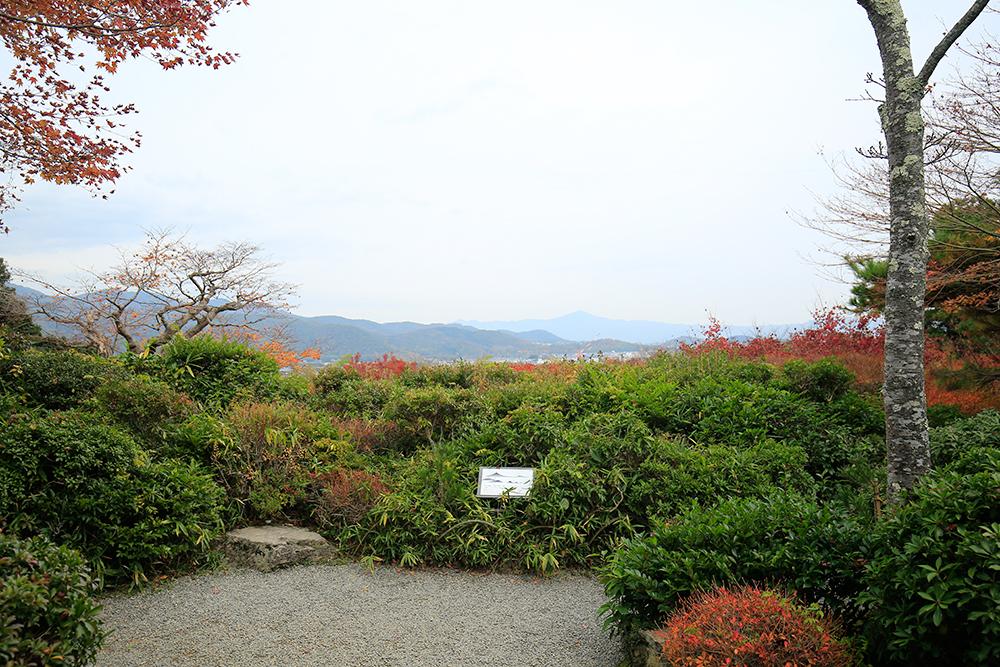 奥に見える尖った山は比叡山。お子さんでも見えるようにと左下に岩が置かれています。心配りが素晴らしい!