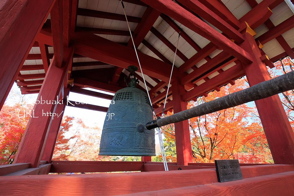日本三名鐘のひとつに数えられる梵鐘のレプリカ。国宝の実物は「平等院ミュージアム鳳翔館」にて。