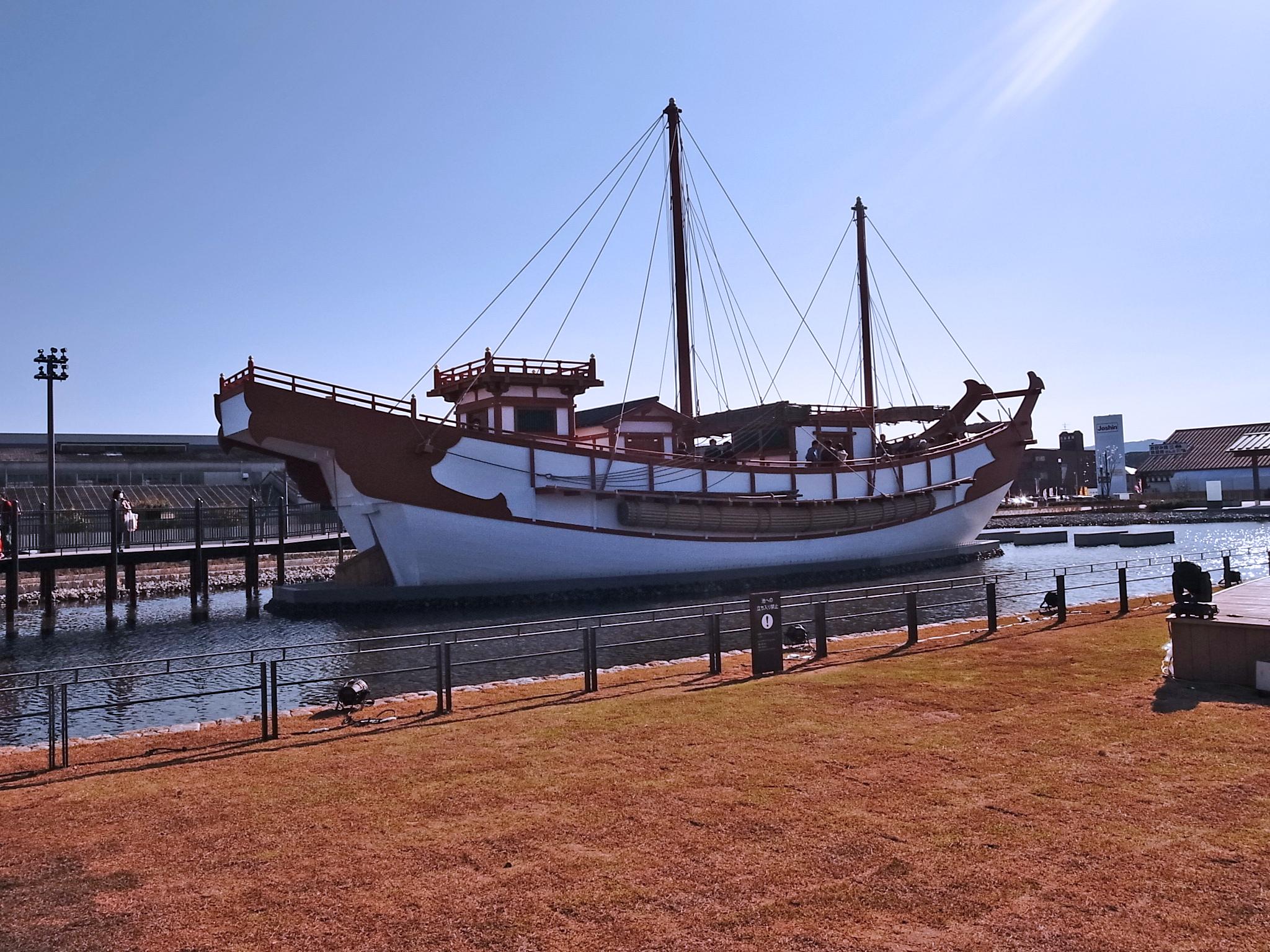 船長30mほどの遣唐使船。乗船できますよ!