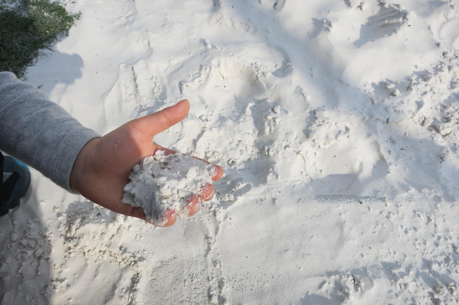 トランポリンの周りは砂に囲まれていて、とてもサラサラした気持ちのいい砂でした。