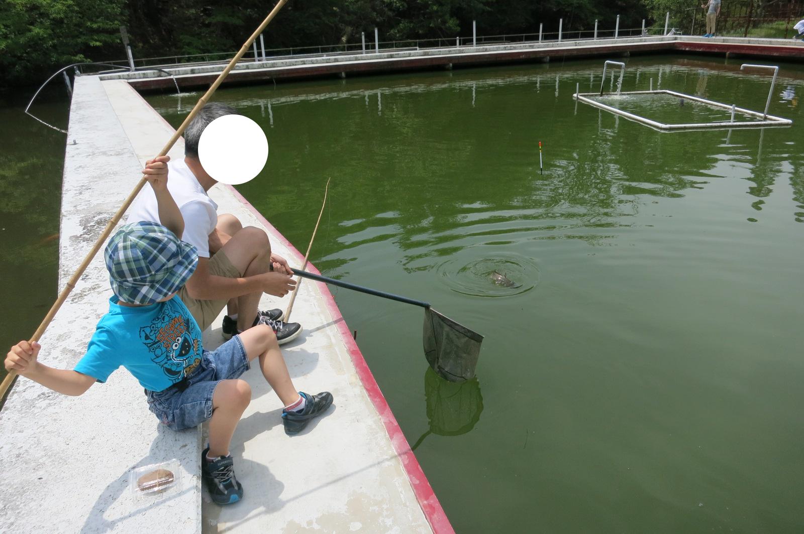 1cm位の玉にしたエサを針につけると「きたー!!」と息子も大喜び。もちろん何回も食べ逃げされてます