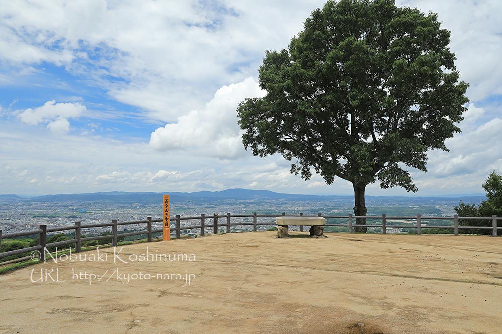 若草山の展望所。奈良市街が一望できます。