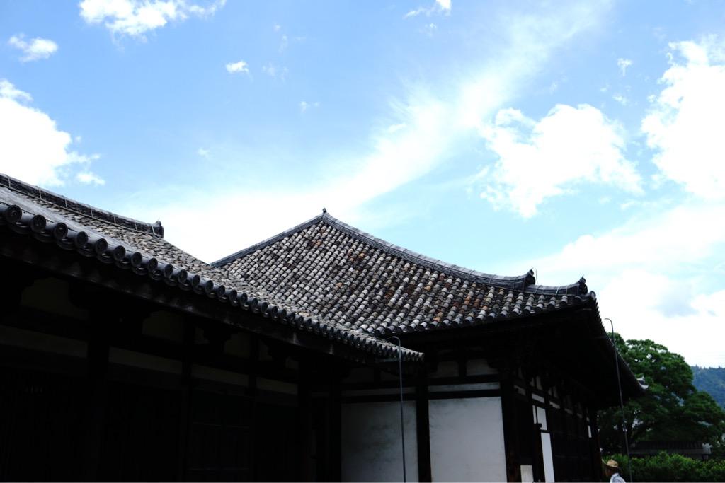 元興寺の瓦は奈良時代藤原京にあった飛鳥寺から移されました。渋くて雰囲気のいい瓦です。