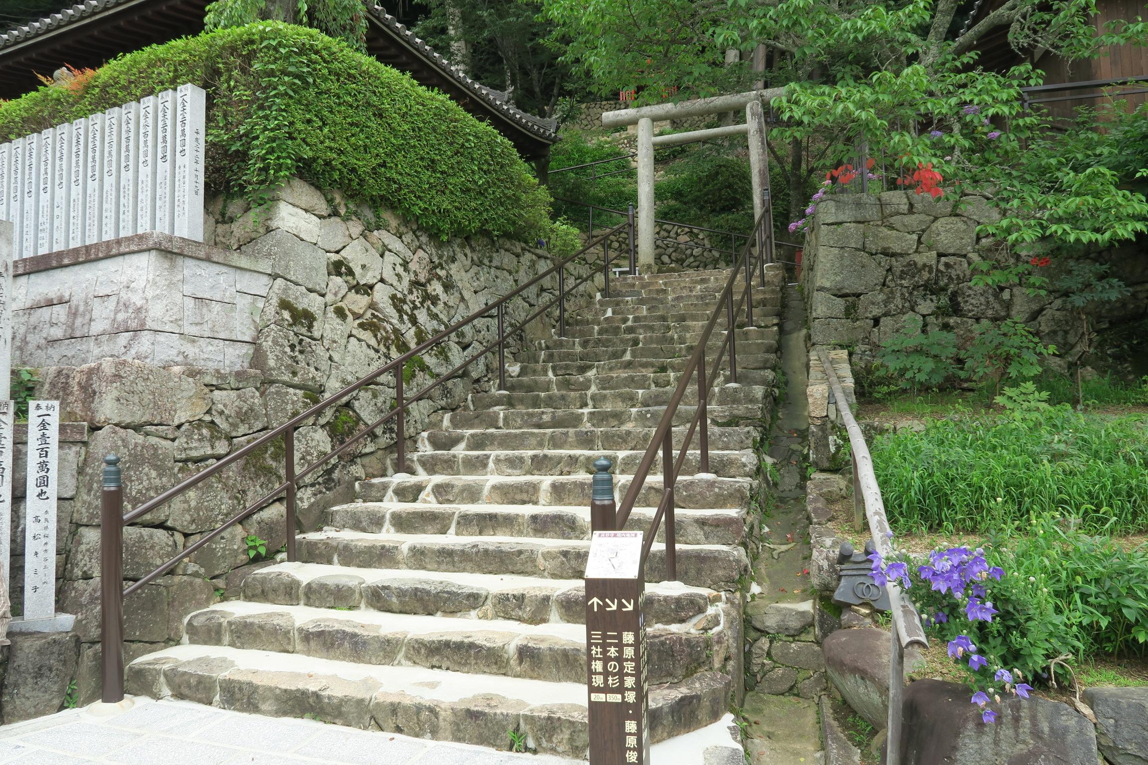 この階段を登ると三社権現が鎮座しています。