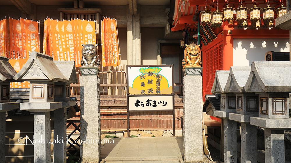 信貴山にお参りに来たら「トラ探し」もしてみましょう。ここでは金と銀のトラさん。
