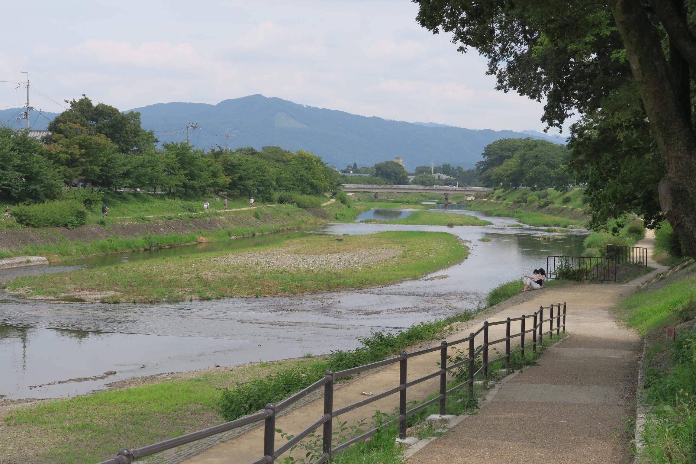 夏でも木陰があるから大丈夫。暑さをしのぎながら川沿いでランチできます。