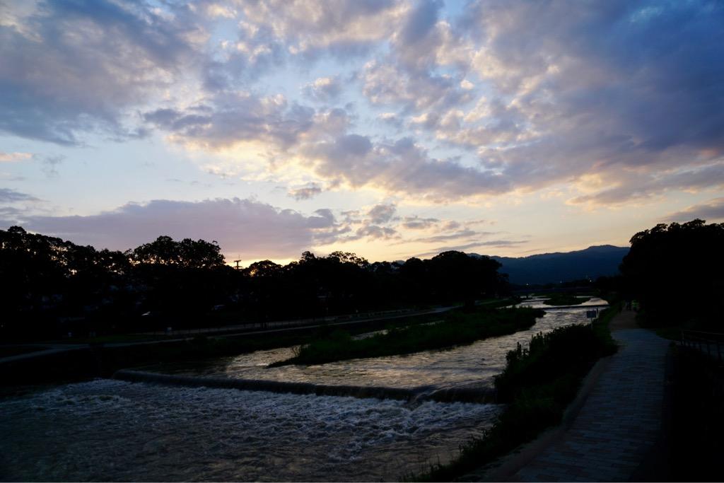 その後賀茂川へ。夕陽が綺麗でした。