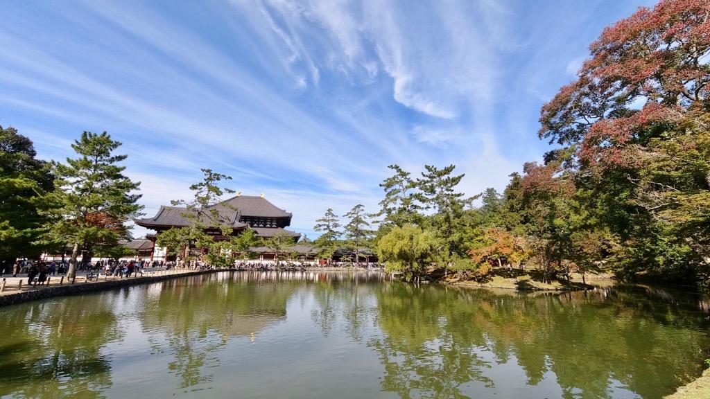東大寺の周辺も少しだけ紅葉が始まっていました。