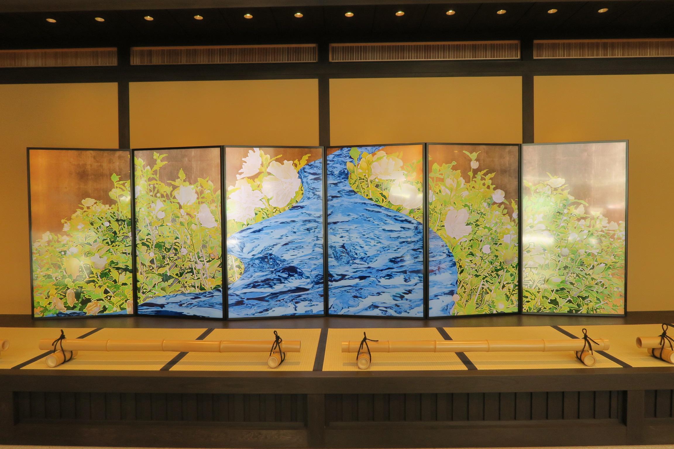 館内にある「祇園祭ギャラリー」。屏風が映像になっています。見ごたえあります。