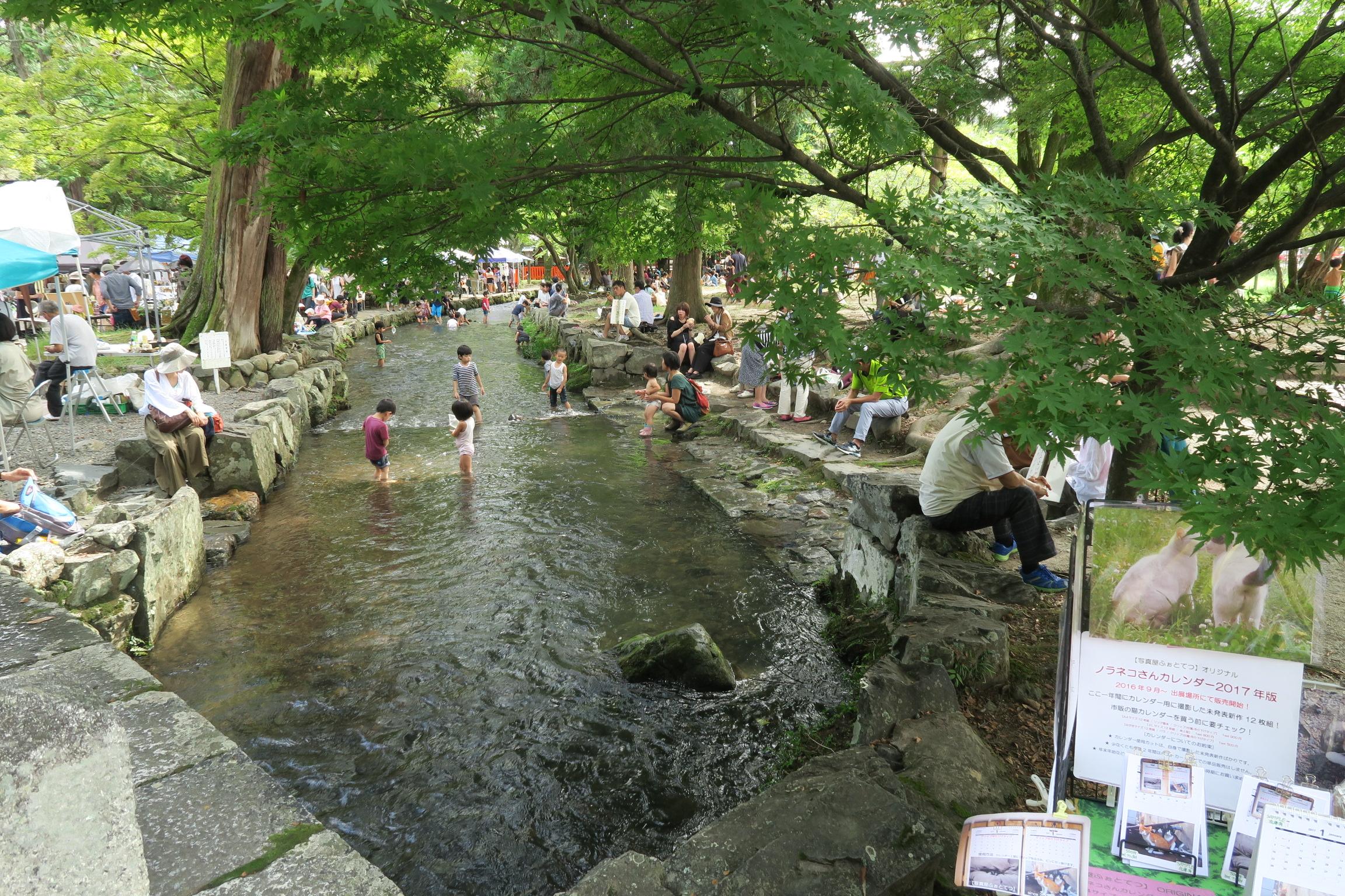 子供たちは神社内の川で水遊び。たのしそう。。。