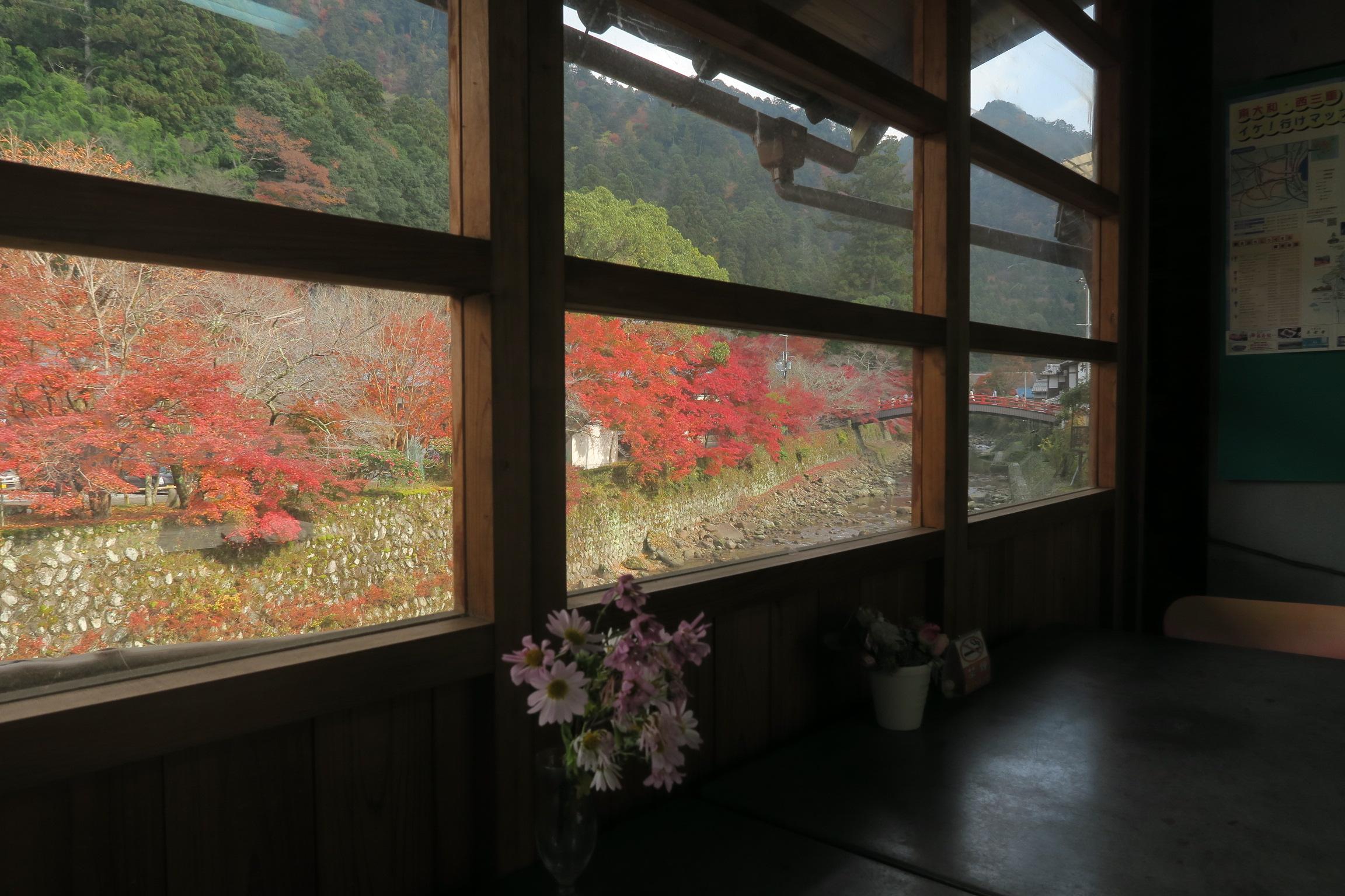 店内で食べることができるのですが、紅葉が素晴らしく特等席!!