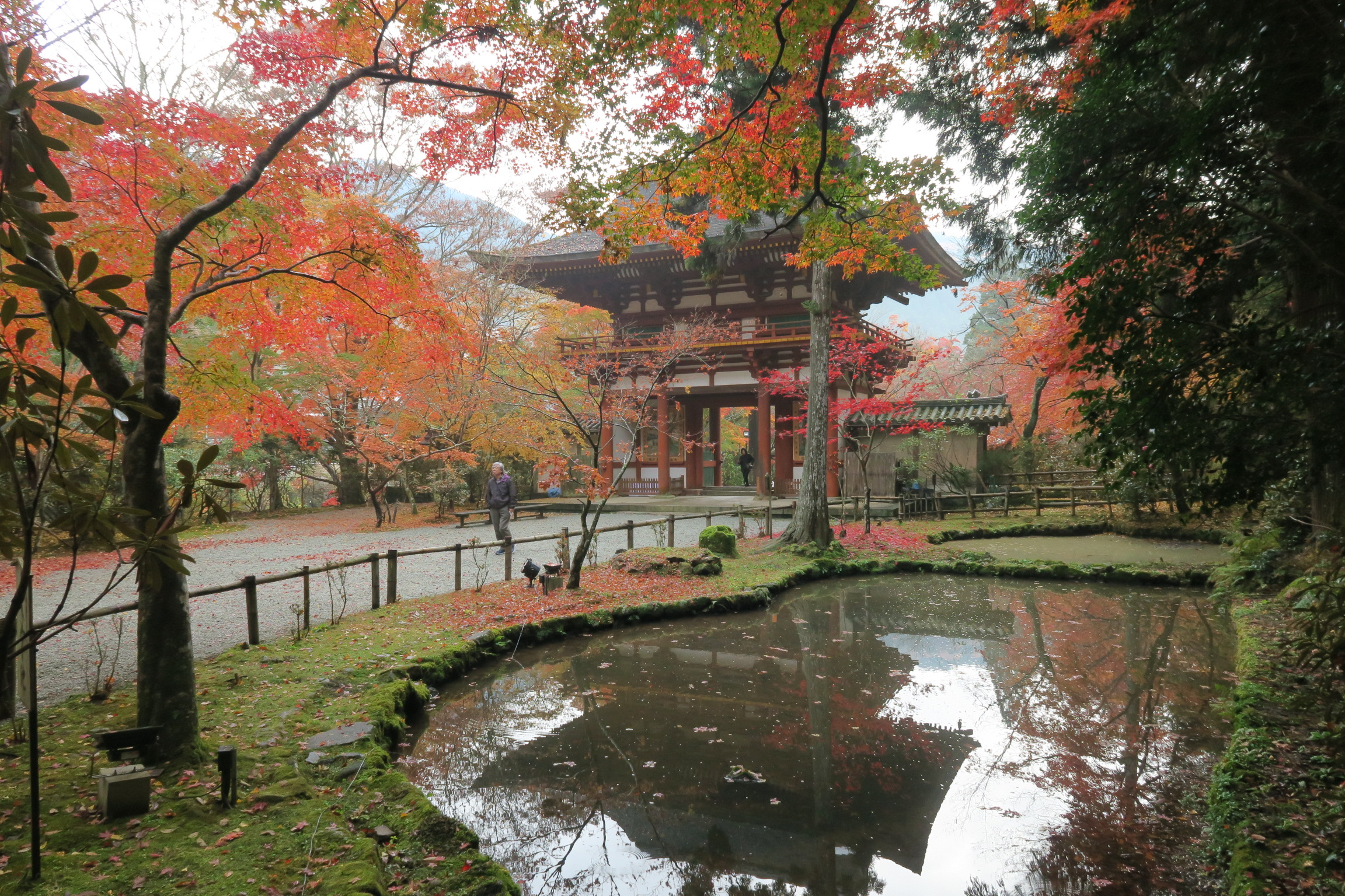 バン字池周辺の紅葉も見事。古地図にはこの辺りに2つの池があったと記録されています。
