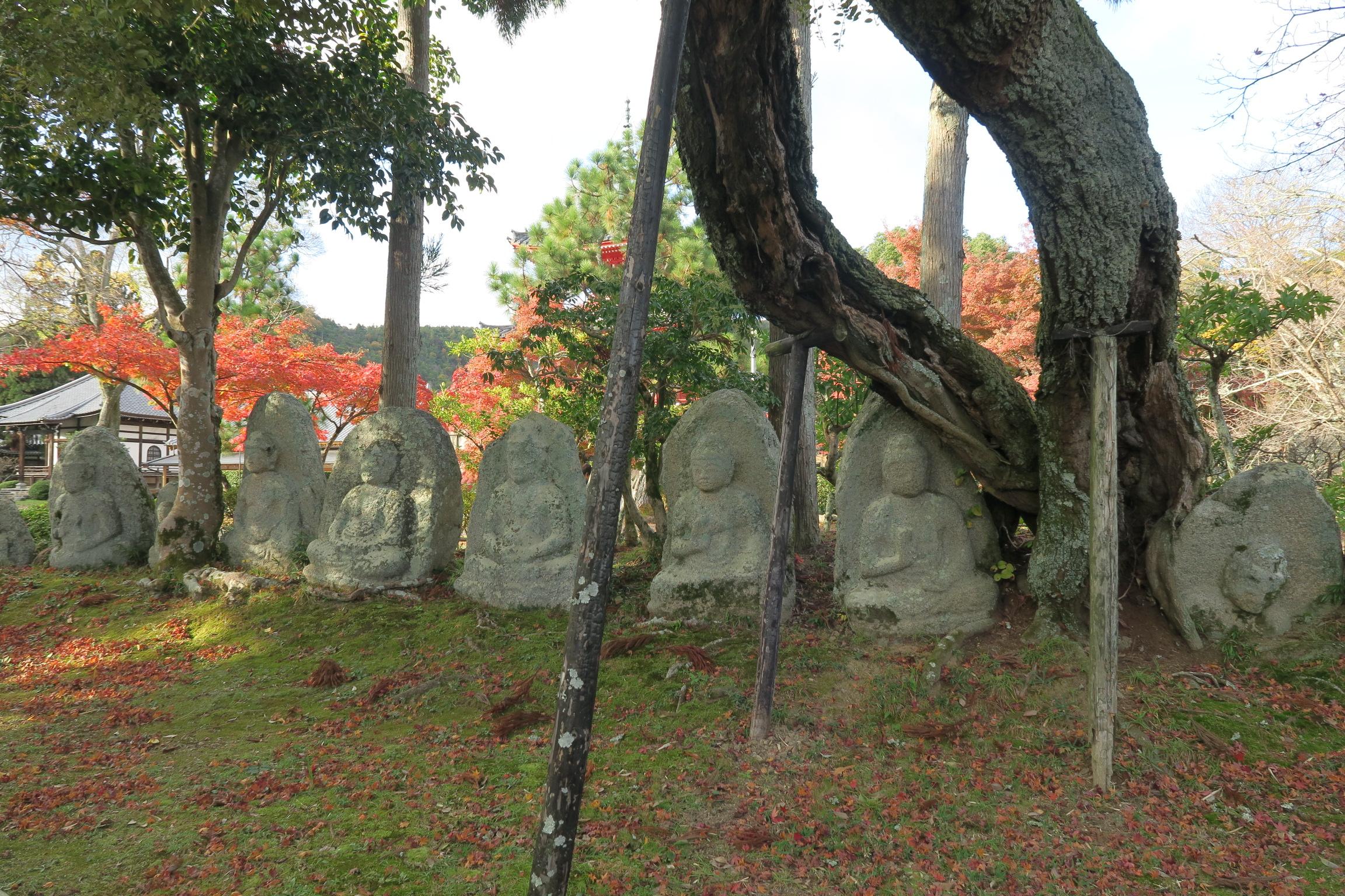 大沢池の北側にある石仏群。
