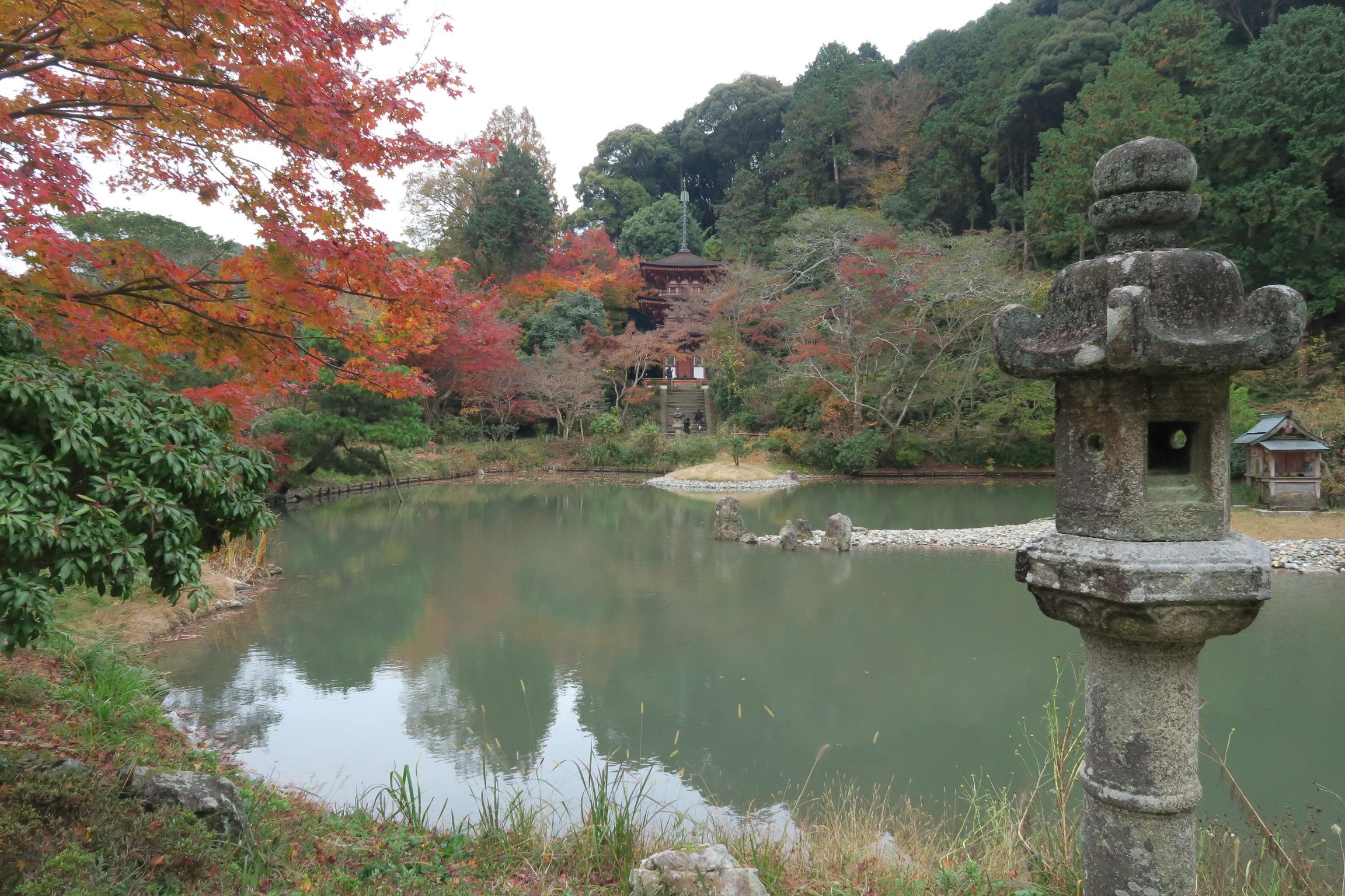 特別名勝でもあり、浄土式庭園のお庭。池は興福寺の僧が掘ったもの。中央には弁財天を祀る祠があります。