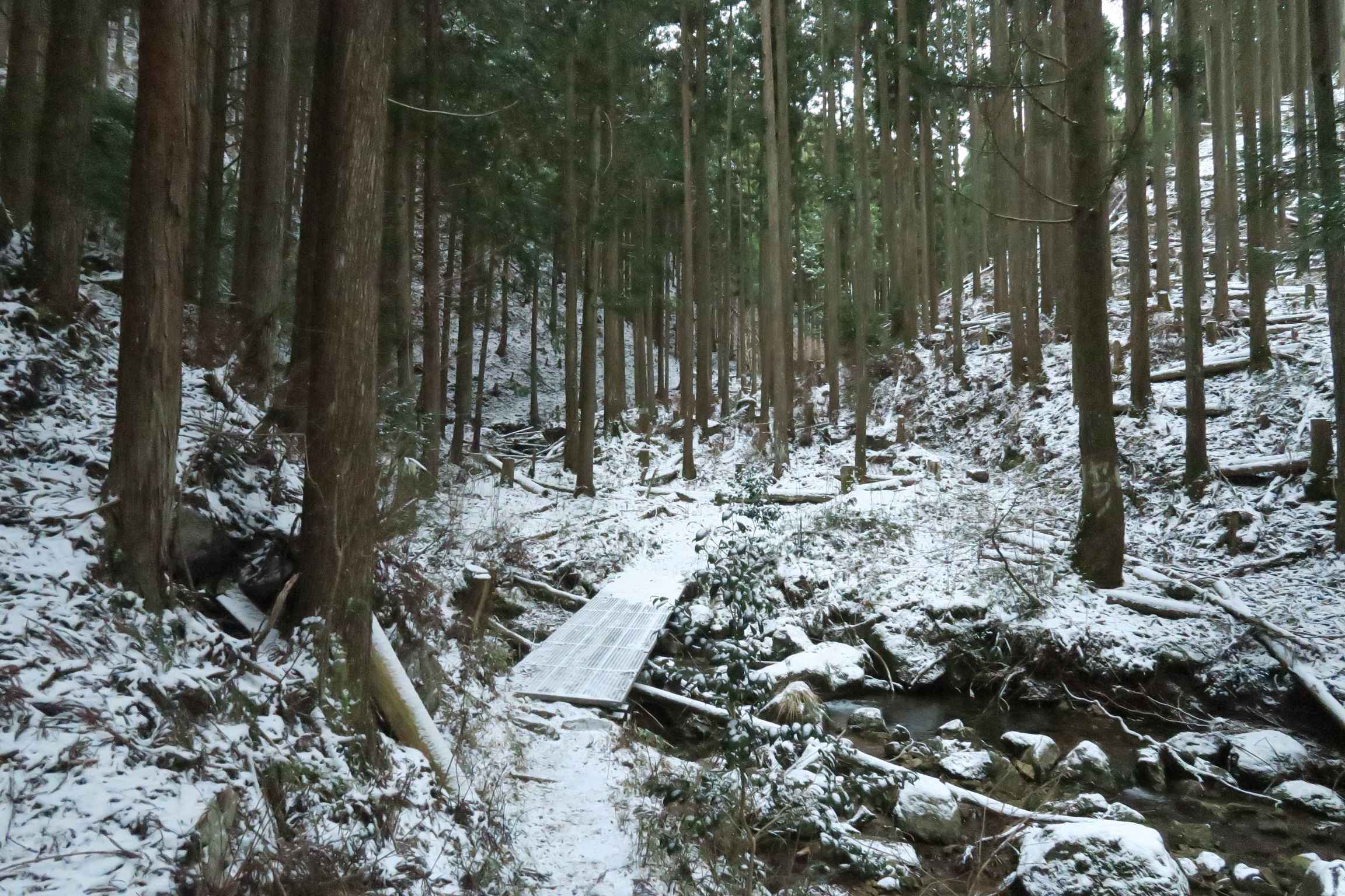 わずかに雪が降ったようですね。川にかかっている鉄製の橋は、アイゼンをしているとハマってしまうことも。