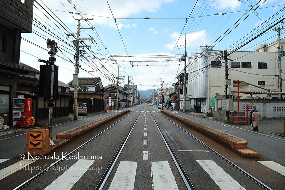 嵐電・山之内駅と四条大宮駅。路面電車